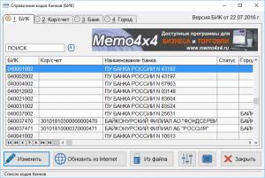 Memo Cod 4×4 Справочник банков