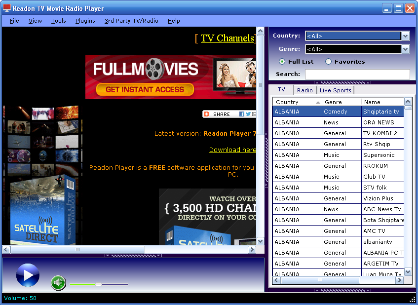 Readon Tv Movie Radio Player Download Free Windows Xp