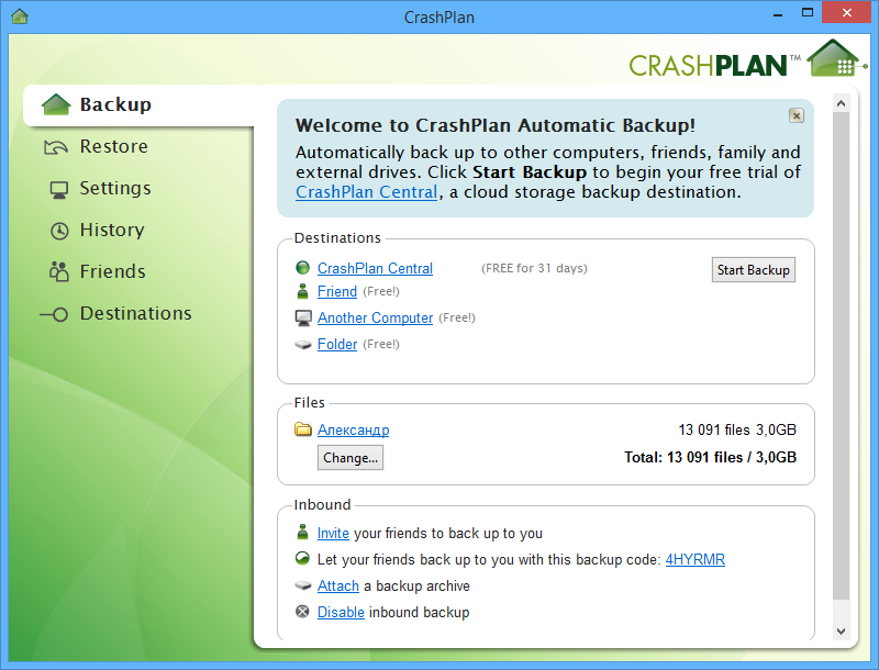 crasplan how to not delete a file